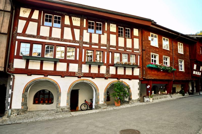 Historic buildings in the township Buchs - St. Gallen, Switzerland. Historical buildings in the aldstadt old town of the medieval township of Buchs in St royalty free stock photo