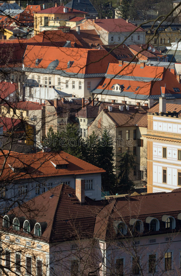 Historical buildings of Banska Bystrica. View from Urpin hill royalty free stock photos