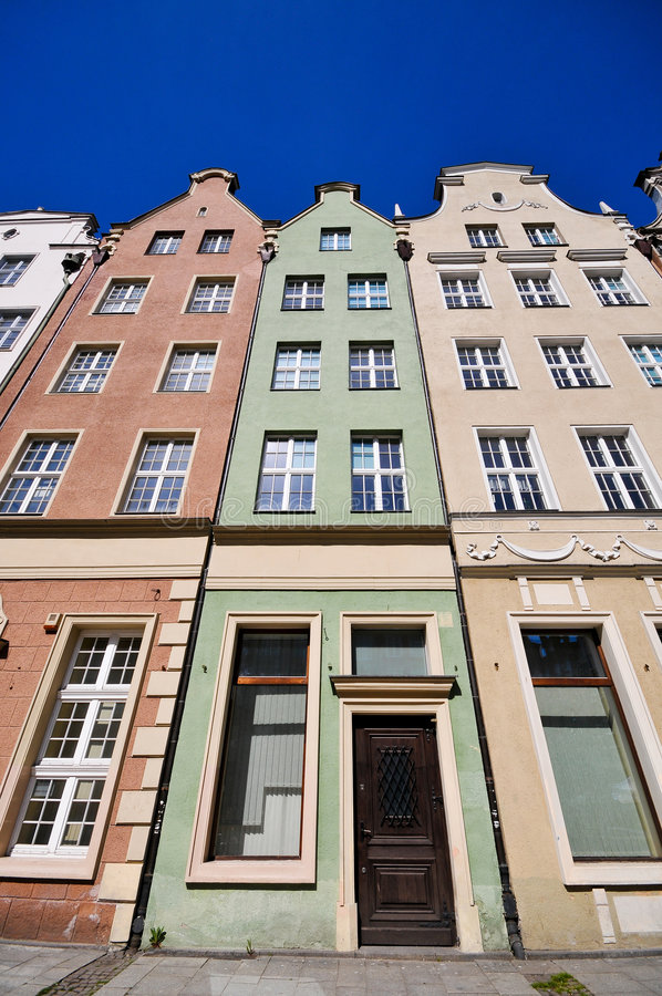 Historical Buildings On Dluga Street In Gdansk Stock Photography