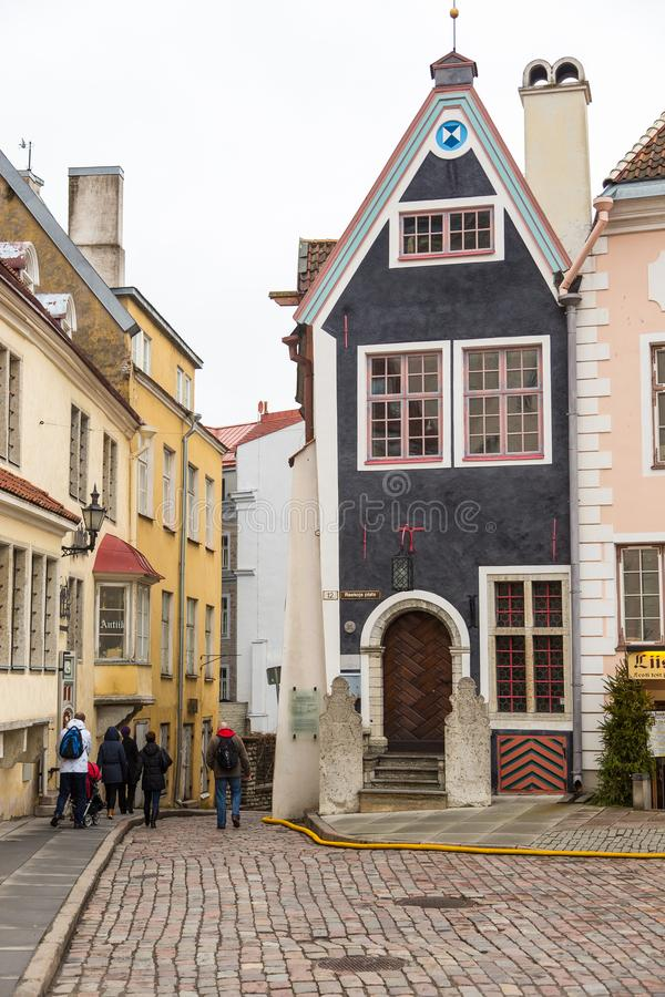 Historical buildings of the Downtown in Tallinn. stock photo