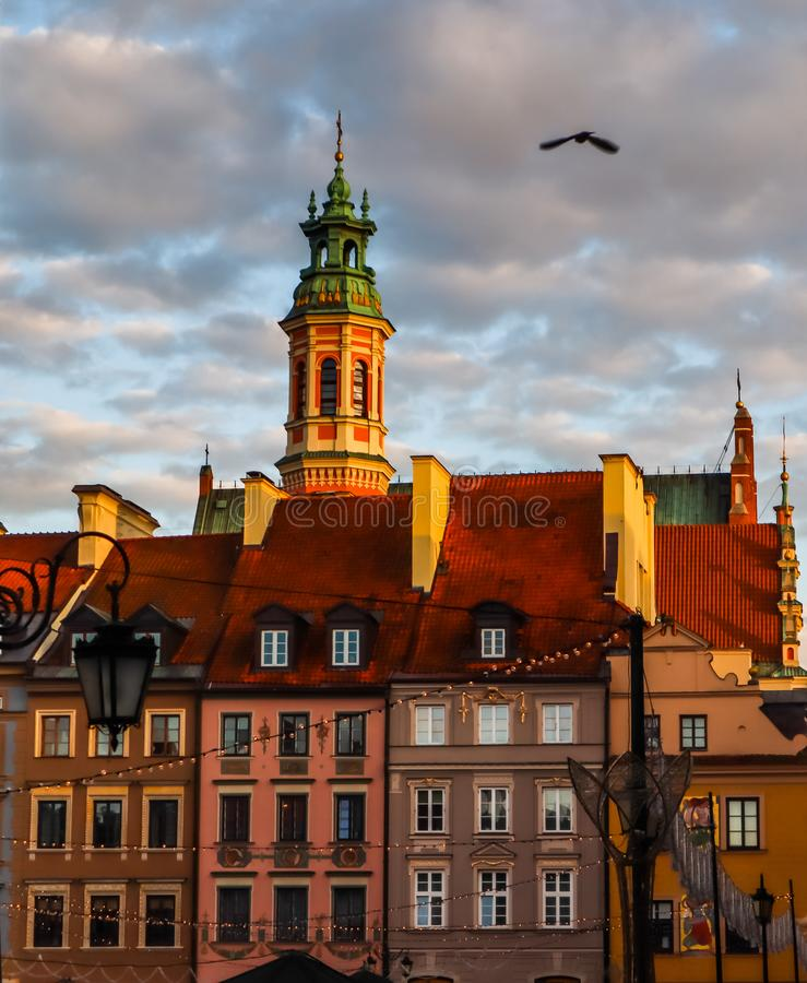 Historical buildings at Market Square of the Old Town with Christmas decorations in sunset. Warsaw, Poland.  stock image