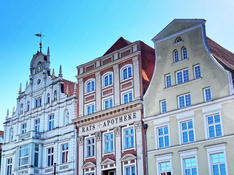 Historical buildings at the market square of Rostock, Germany royalty free stock image