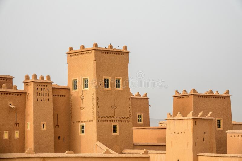 Historical buildings in Morocco with a grey background. The historical buildings in Morocco with a grey background royalty free stock image