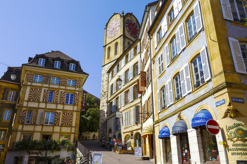 Historical buildings, Neuchatel. NEUCHATEL, SWITZERLAND - SEPTEMBER 09, 2015: Urban scene of architecture, view of historical buildings in the city with a stock image