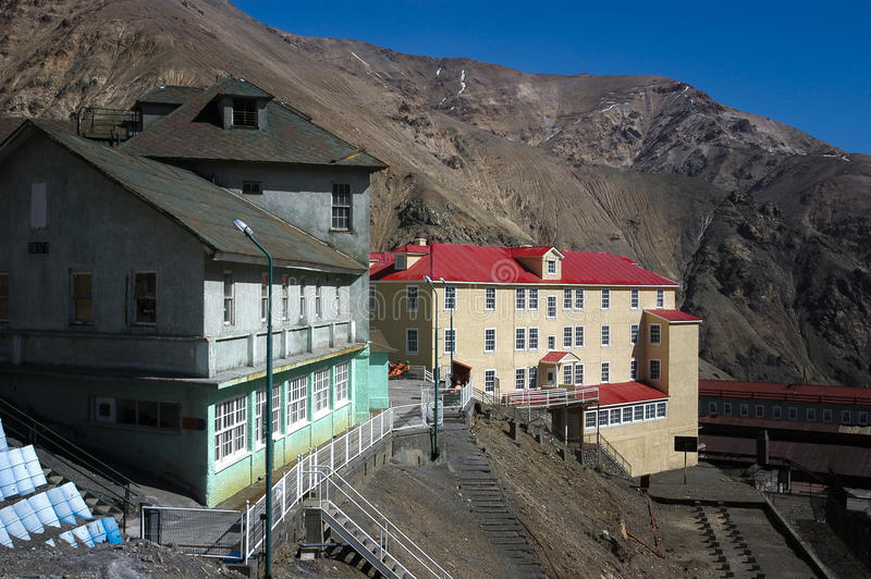 Historical buildings. October 6, 2006, Chile. historical architecture buildings Sewll mining camp in the Andes royalty free stock image
