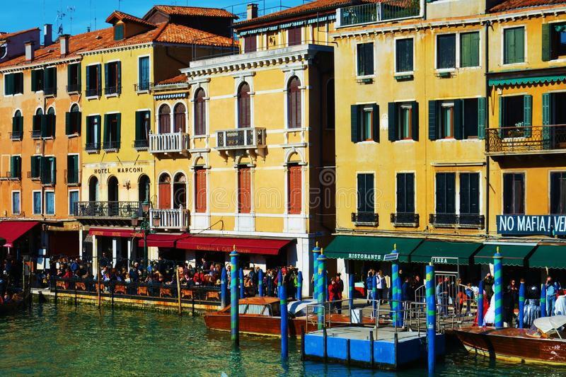 Historical buildings from Rialto bridge, Venice, Italy, Europe. Romantic cityscape and historical buildings on Grand Canal, beautiful view from Rialto bridge, in royalty free stock image