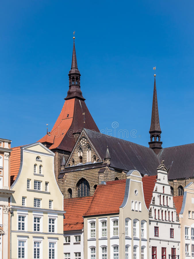 Historical buildings in Rostock. (Germany) with blue sky stock images