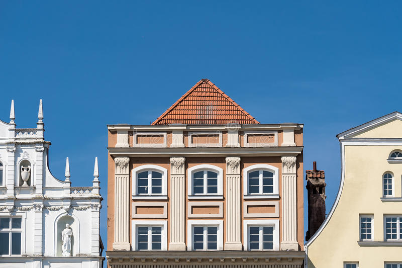 Historical buildings in Rostock. (Germany) with blue sky stock image