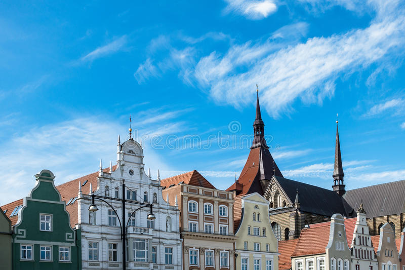 Historical buildings in Rostock. (Germany) with blue sky stock photo