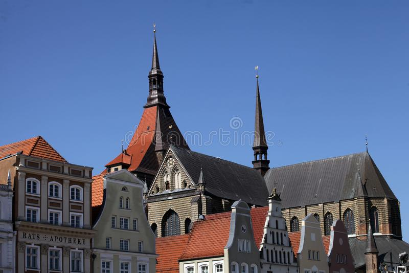 Historical buildings in Rostock stock images