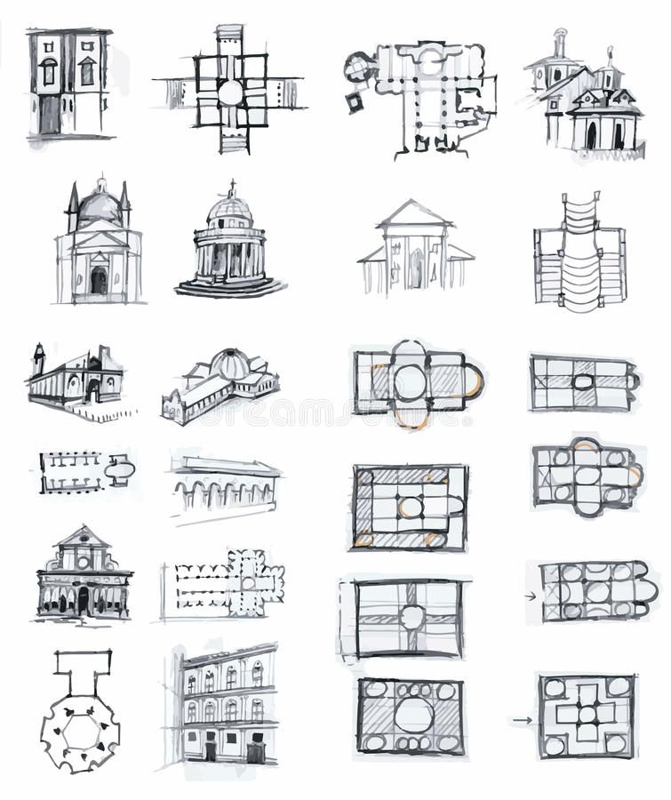 Download Historical Buildings Sketches Stock Illustration - Image: 39113986