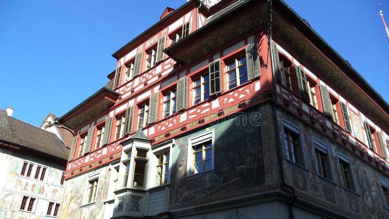 Historical buildings and traditional architecture, Stein am Rhein royalty free stock photo