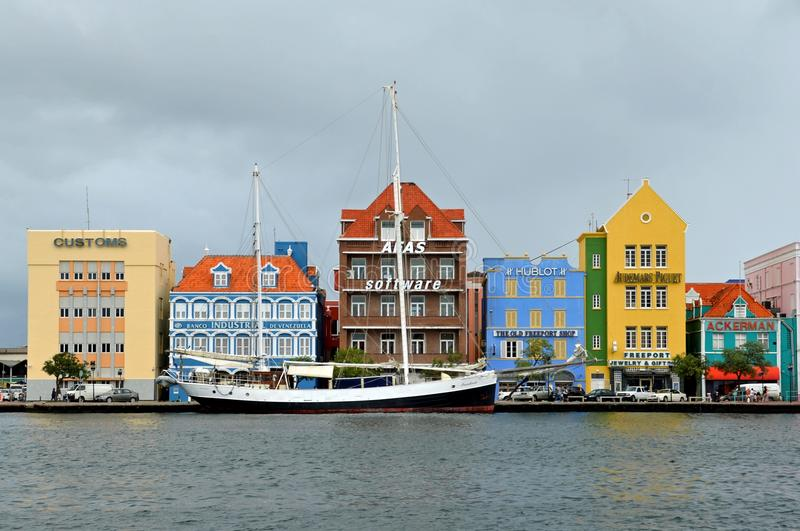Historical buildings Willemstad, Curacao. Colorful landmark buildings along St Anna Bay in Willemstad, Curacao royalty free stock images