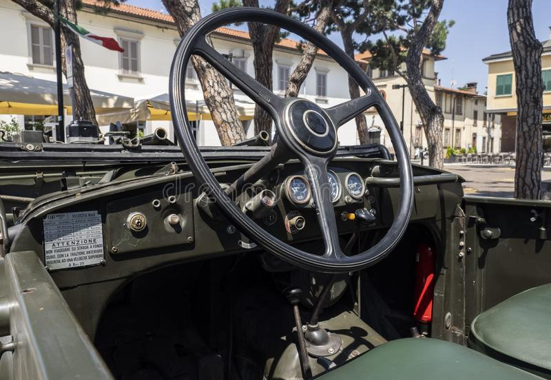 Historical car of the second world. Historical reenactment of the Second World War. Vintage jeep, lateral view stock photography