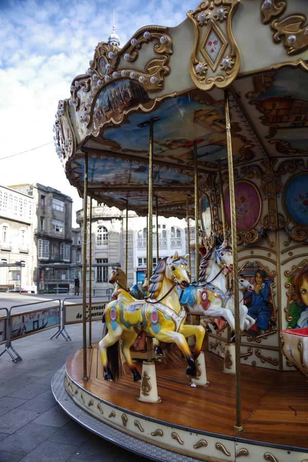 Historical carousel on Porta do Sol square, Vigo, Galicia, Spain royalty free stock images