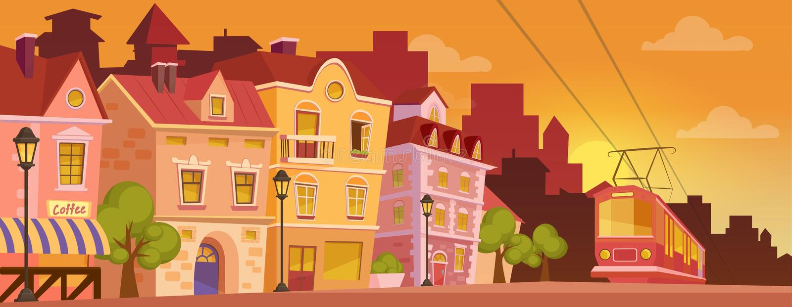 Historical cartoon city street on sunrise or sunset. Old city banner with tram. Vector illustration. Historical city street on sunrise or sunset. Old city royalty free illustration