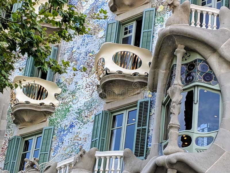 Casa Batllo in Barcelona, Spain. Historical Casa Batllo in Barcelona. Photo taken on: August, 2019 royalty free stock images