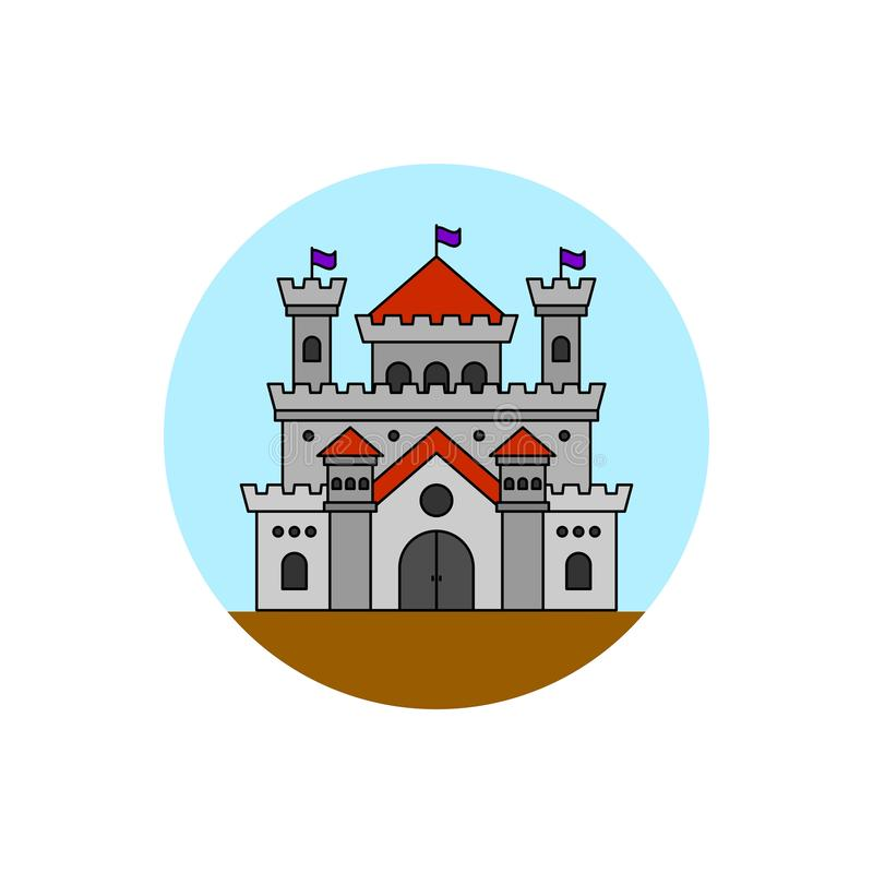 Historical castle building icon. royalty free illustration