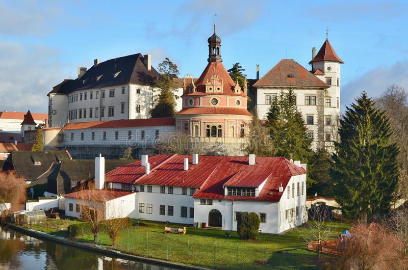 The historical castle complex, the town of Jindrichuv Hradec, the southern Bohemia royalty free stock images