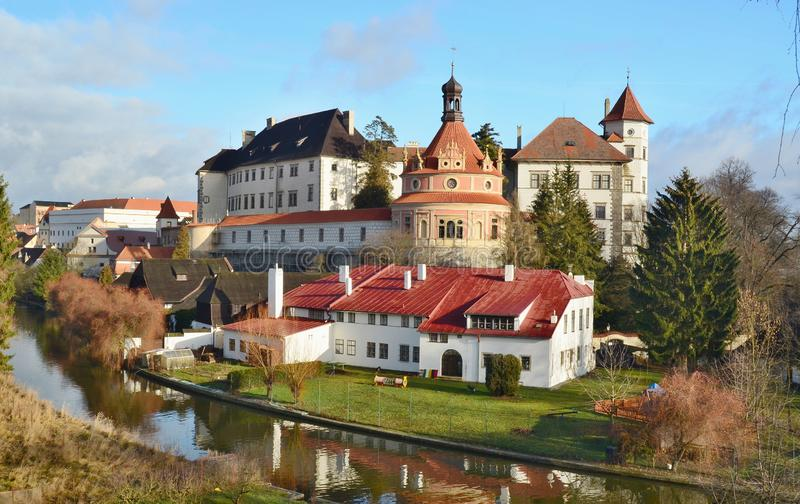 The historical castle complex, the town of Jindrichuv Hradec, the southern Bohemia stock image