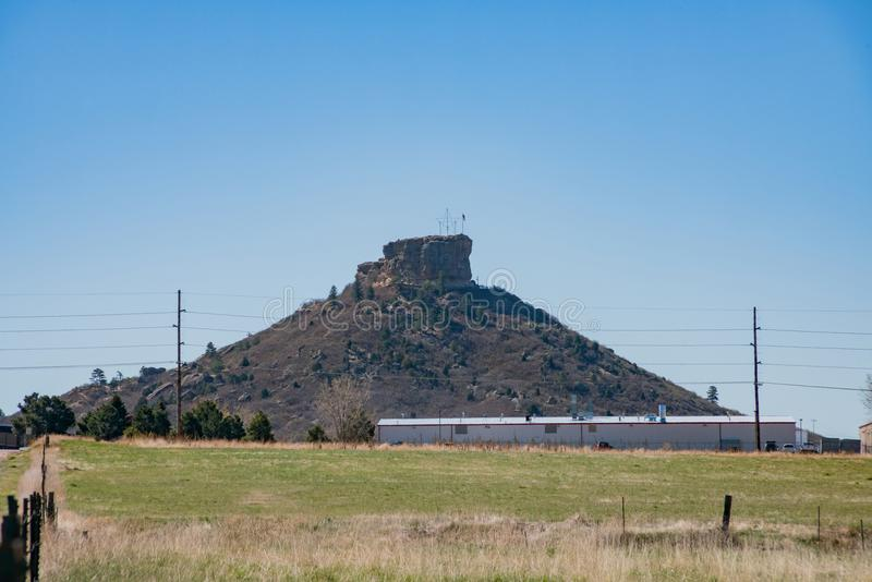 The historical Castle Rock. In Rock Park, Colorado stock image