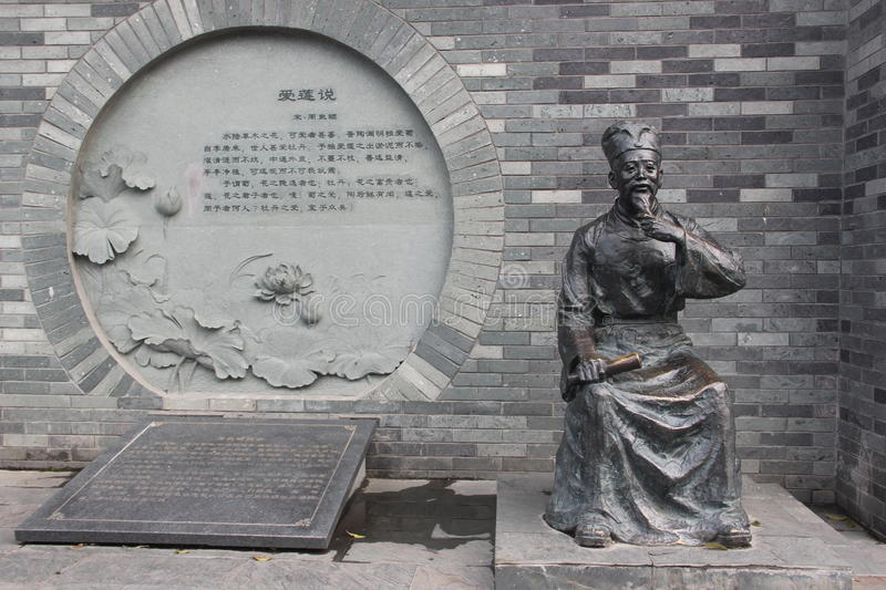 Historical celebrities Zhou dunyi bronze statues royalty free stock images