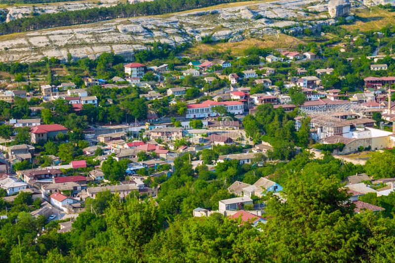 The historical center of the ancient city of Bakhchisarai on the Crimean Peninsula. The ancient city of Bakhchisarai on the Crimean Peninsula is located among royalty free stock photo