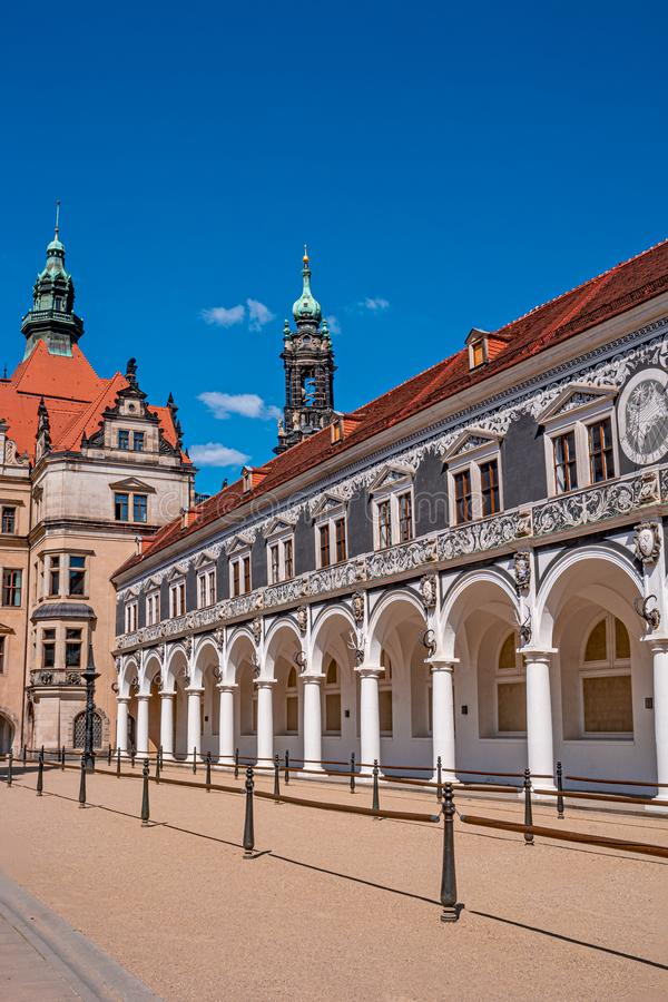 Historical center and colorful painted buildings in downtown of Dresden in summer with blue sky, Germany royalty free stock image
