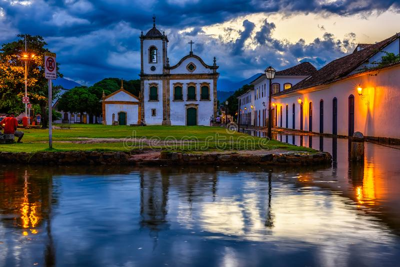 Historical center of Paraty at night, Rio de Janeiro, Brazil. Paraty is a preserved Portuguese colonial and Brazilian Imperial municipality royalty free stock photography