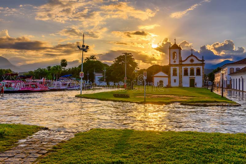 Historical center of Paraty at sunset, Rio de Janeiro, Brazil. Paraty is a preserved Portuguese colonial and Brazilian Imperial municipality royalty free stock images