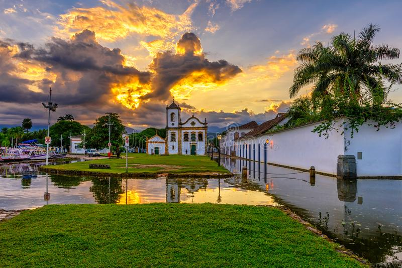 Historical center of Paraty at sunset, Rio de Janeiro, Brazil. Paraty is a preserved Portuguese colonial and Brazilian Imperial municipality royalty free stock photography