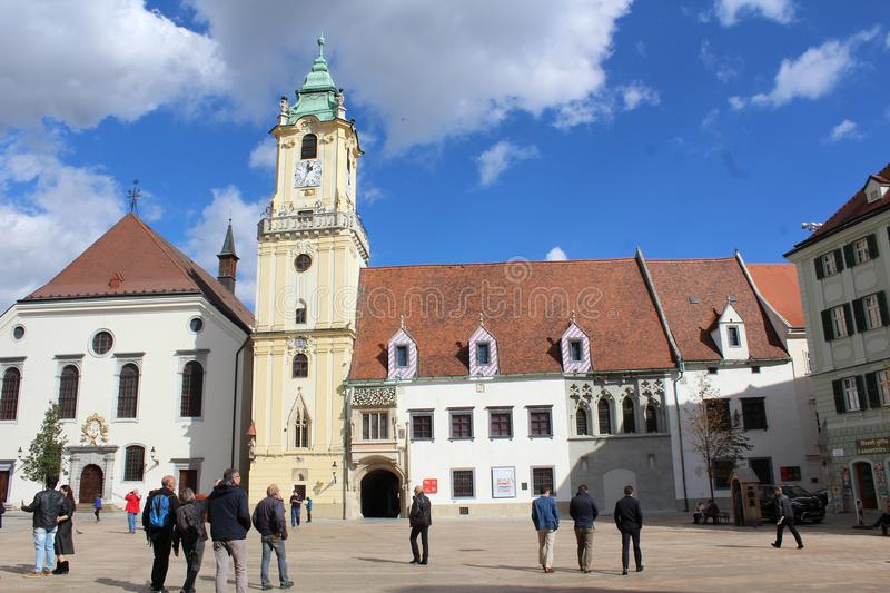 Historical centre of Bratislava, capital of Slovakia, historical square stock images
