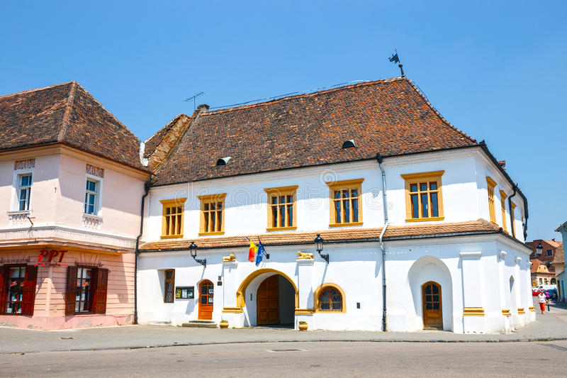 Historical centre of Medias, medieval city in Transylvania, Romania. Medias, Romania, 08 JULY 2015: Historical centre of Medias, medieval city in Transylvania stock image