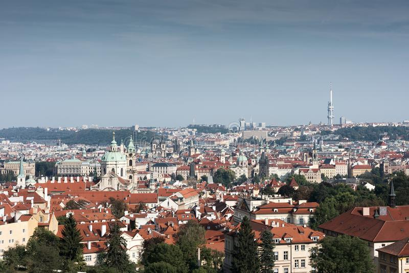 The historical centre of Prague. The European urban landscape. Red rooftops stock photography