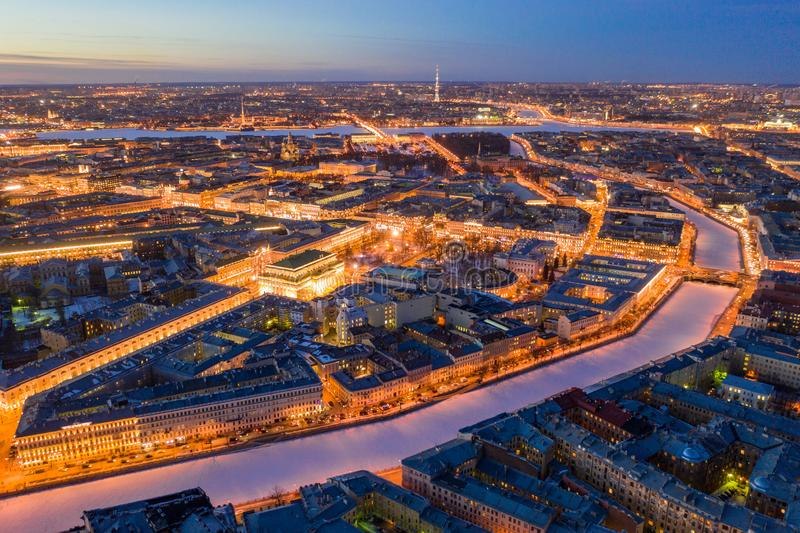 The historical centre of Saint-Petersburg, shot by drone. Aerial top view stock photo