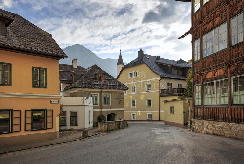 Historical centre of the town of Bad Aussee during sunset. Bad Aussee, Styria, Austria, Europe. Historical centre of the town of Bad Aussee during sunset. Bad stock photography