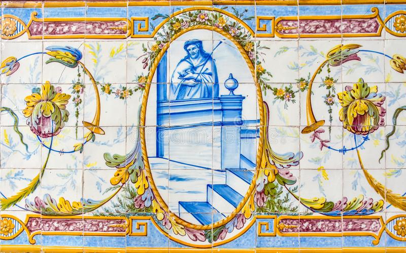 Historical ceramic tile wall decoration of Jesus Christ in a Portuguese church stock photo