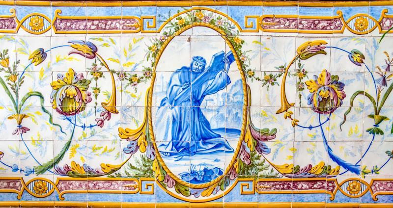 Historical ceramic tile wall decoration of Jesus Christ in a Portuguese church royalty free stock photos