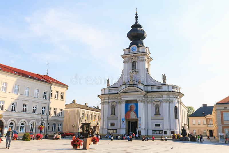 Historical city center of Wadowice. stock image