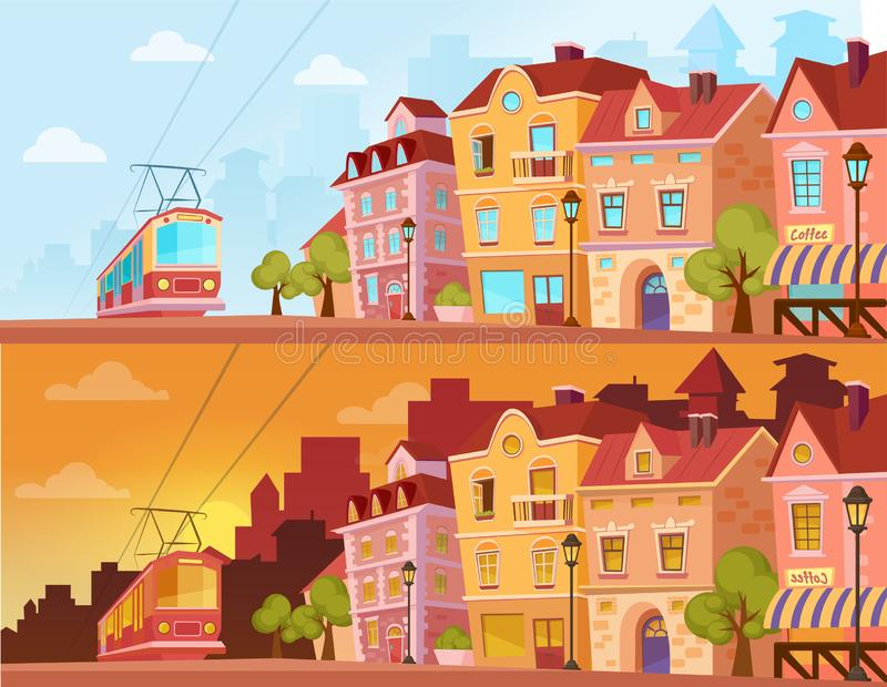 Historical city street in sunset, sunrise and sunny day. Old city urban area with tram. Cartoon vector illustration. stock illustration