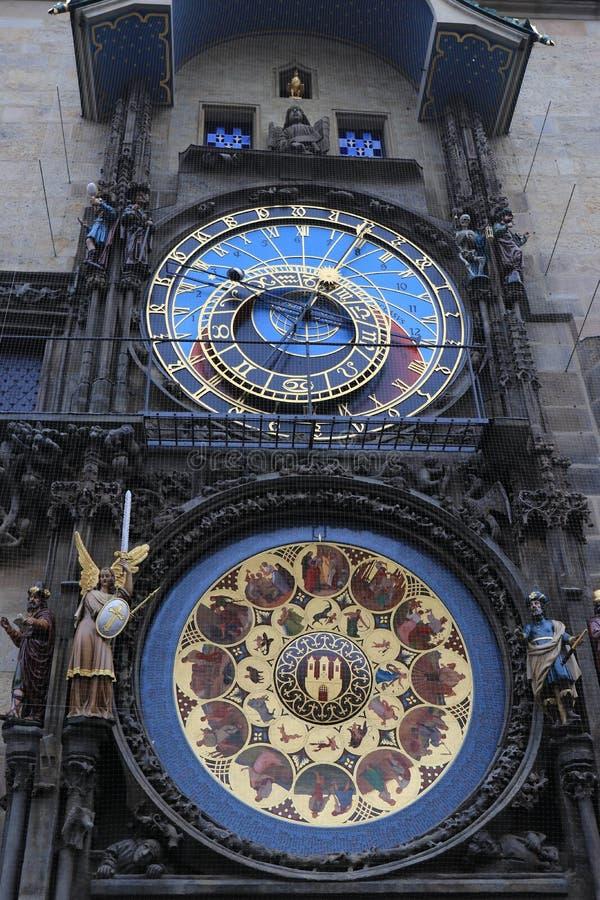 Historical clock Orloj in Prague stock images