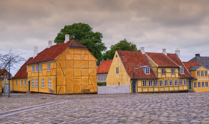 Historical colorful danish buildings in Roskilde, Denmark. Colorful historical danish buildings in Roskilde, Denmark stock photography