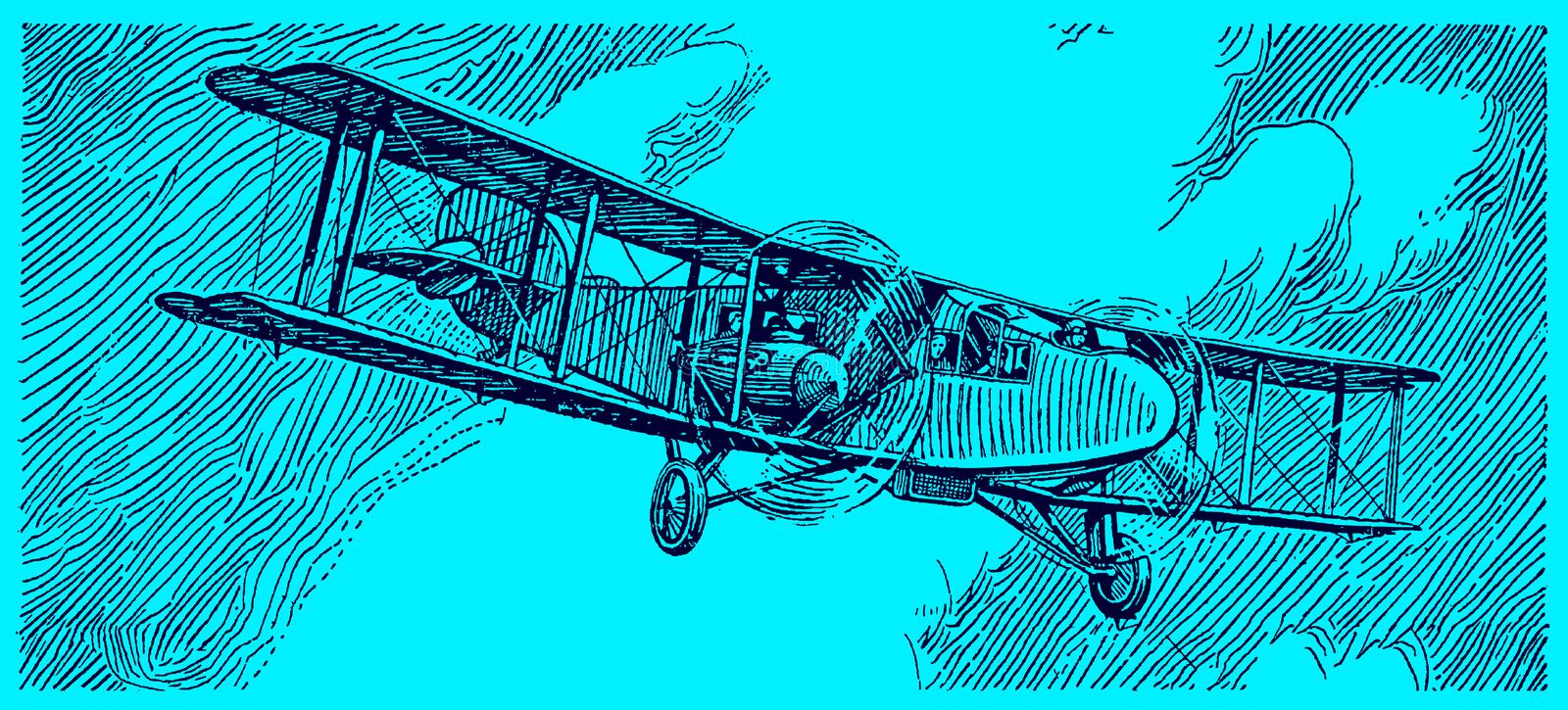 Historical commercial aviation biplane flying in front of a dark cloudy sky. Illustration on a blue background after a lithography royalty free stock photo