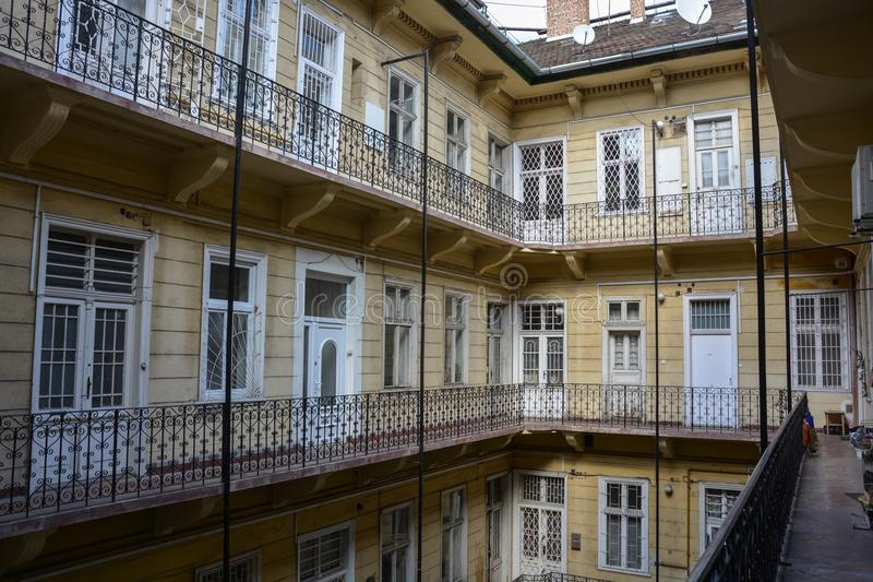 Historical courtyard in Budapest, Hungary royalty free stock photos