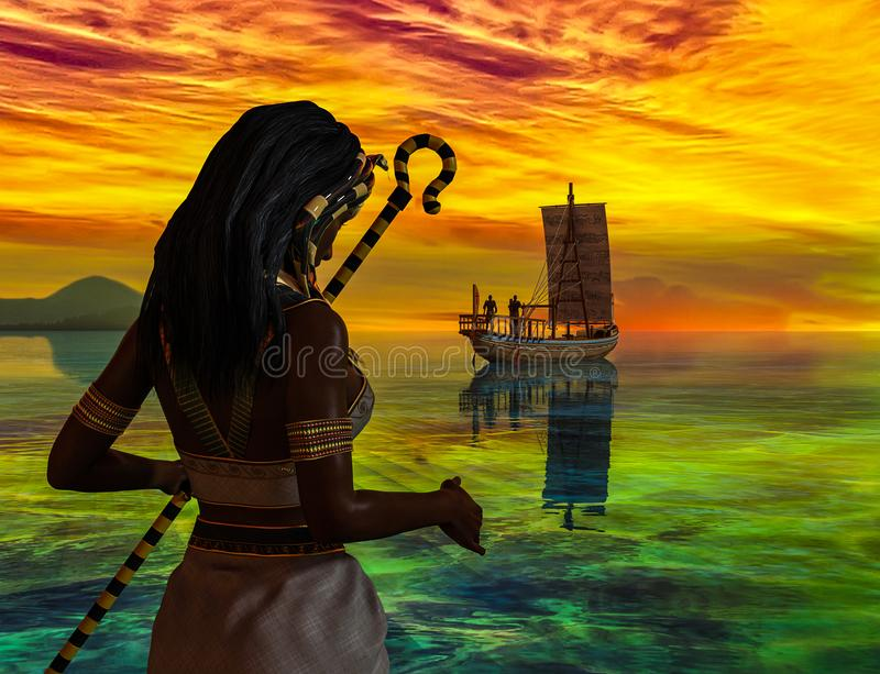A historical Egyptian woman watching an ancient Egyptian boat. vector illustration