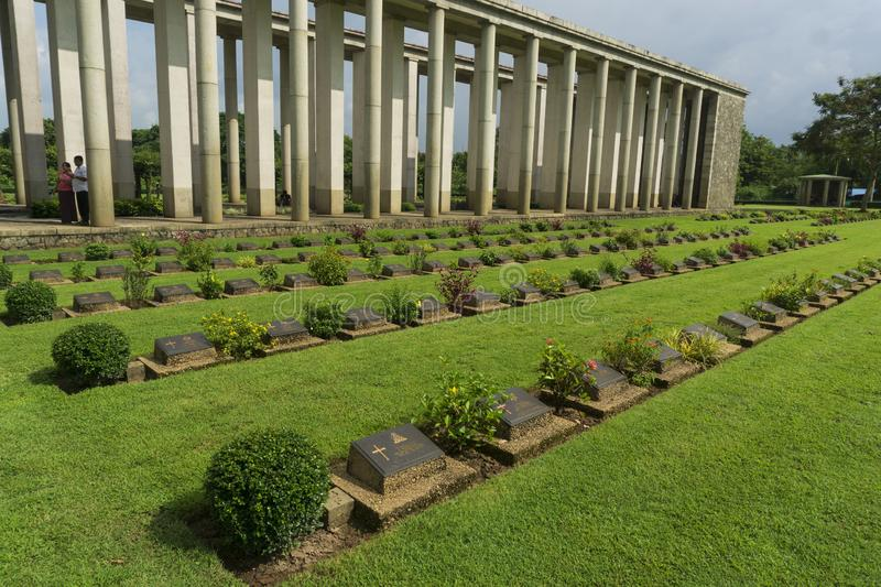 Historical Evidence At Htauk Kyant War Cemetery in Yagon, Myanmar. Like many other Southeast Asian countries, Myanmar also experienced a fierce war to gain royalty free stock photography