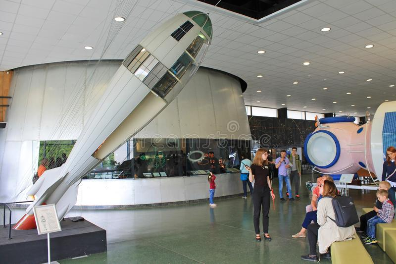 Exhibits in the interior of the Museum of cosmonauts in Kaluga Russia. Historical exhibits and aircraft in the interior of the Museum of cosmonauts in Kaluga royalty free stock photos