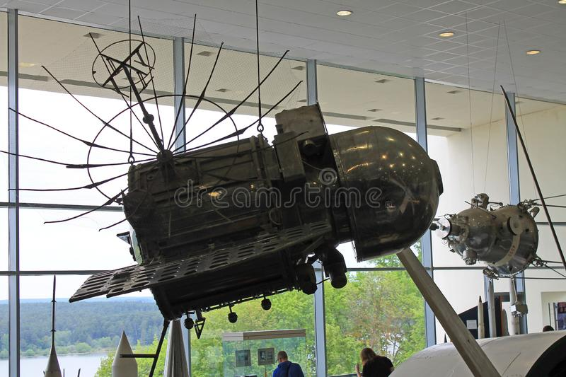 Exhibits in the interior of the Museum of cosmonauts in Kaluga Russia. Historical exhibits and aircraft in the interior of the Museum of cosmonauts in Kaluga stock images