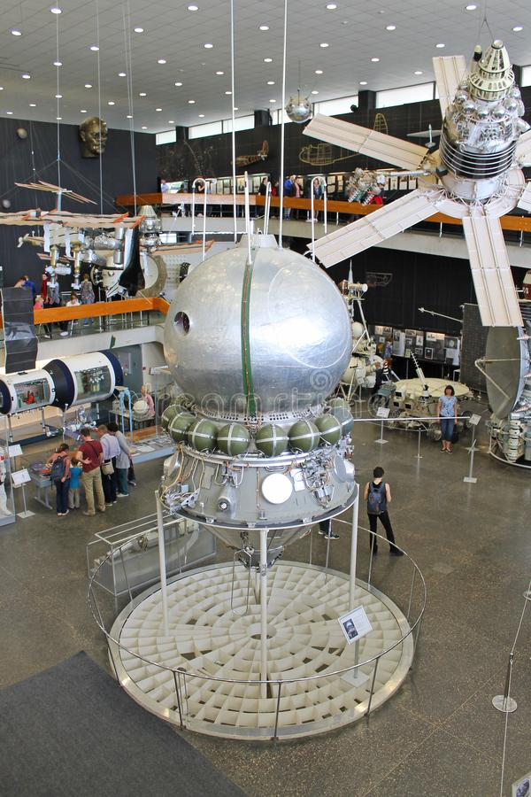 Exhibits in the interior of the Museum of cosmonauts in Kaluga Russia. Historical exhibits and aircraft in the interior of the Museum of cosmonauts in Kaluga stock image