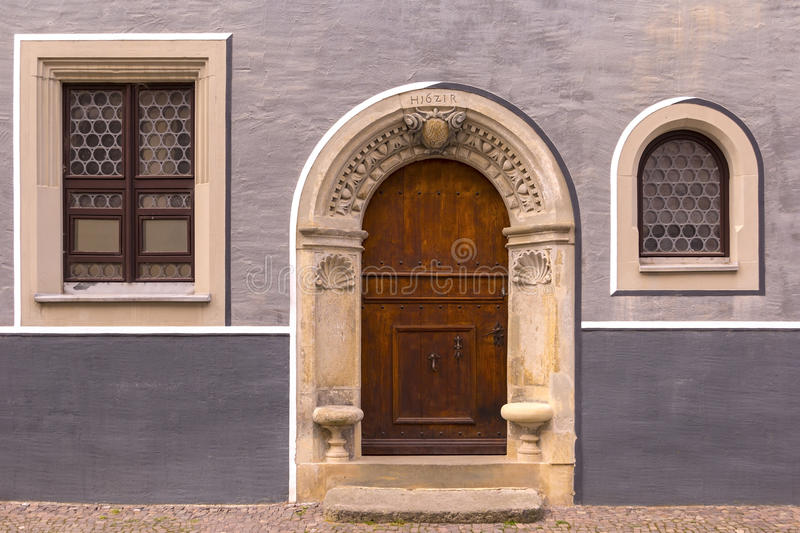 Historical Facade from the 17th century. Detail of an Historical Facade with typical inscriptions from the 17th century in the medieval town Torgau, Germany stock image